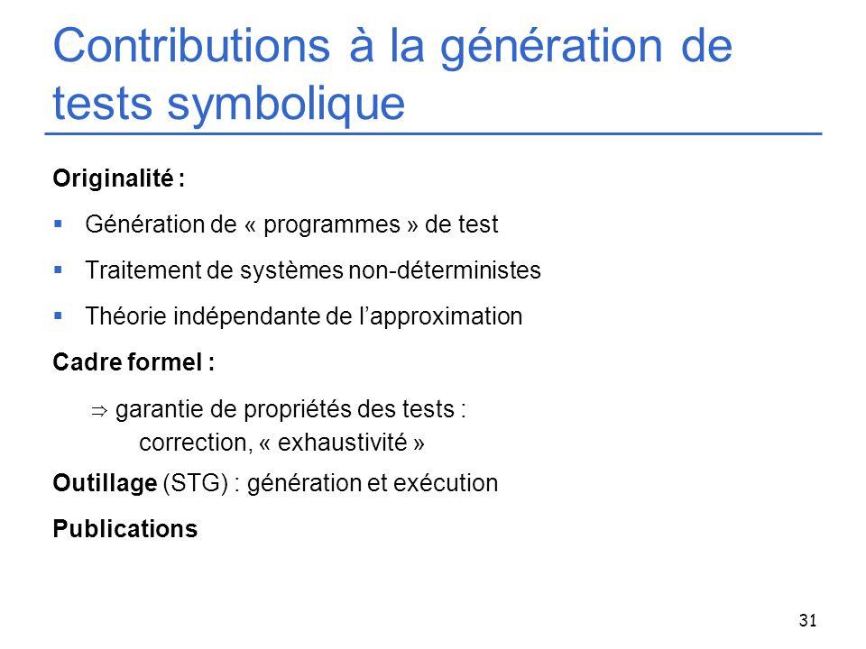 31 Contributions à la génération de tests symbolique Originalité : Génération de « programmes » de test Traitement de systèmes non-déterministes Théor
