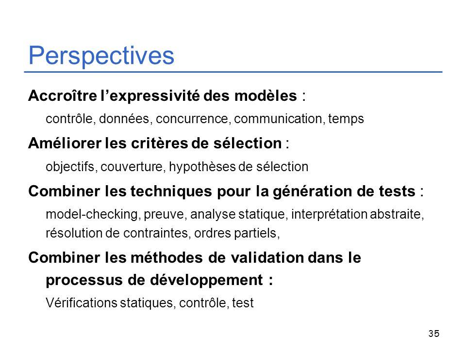 35 Perspectives Accroître lexpressivité des modèles : contrôle, données, concurrence, communication, temps Améliorer les critères de sélection : objec