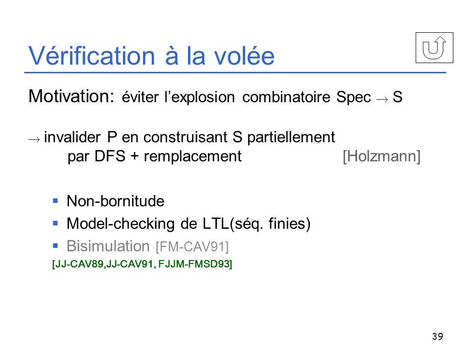 39 Vérification à la volée Motivation: éviter lexplosion combinatoire Spec S invalider P en construisant S partiellement par DFS + remplacement [Holzm