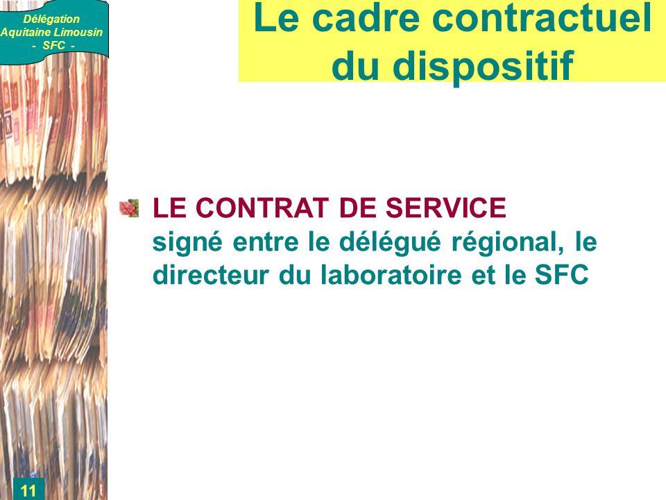 Délégation Aquitaine Limousin - SFC - 11 Le cadre contractuel du dispositif LE CONTRAT DE SERVICE signé entre le délégué régional, le directeur du laboratoire et le SFC