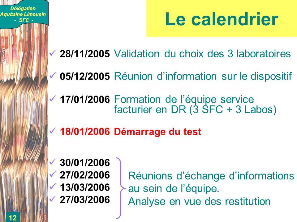 Délégation Aquitaine Limousin - SFC - 12 Le calendrier 28/11/2005 Validation du choix des 3 laboratoires 05/12/2005 Réunion dinformation sur le dispositif 17/01/2006 Formation de léquipe service facturier en DR (3 SFC + 3 Labos) 18/01/2006 Démarrage du test 30/01/2006 27/02/2006 13/03/2006 27/03/2006 Réunions déchange dinformations au sein de léquipe.