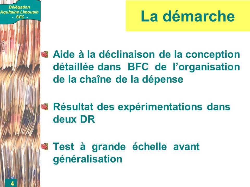 Délégation Aquitaine Limousin - SFC - 4 La démarche Aide à la déclinaison de la conception détaillée dans BFC de lorganisation de la chaîne de la dépense Résultat des expérimentations dans deux DR Test à grande échelle avant généralisation