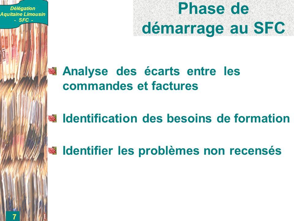 Délégation Aquitaine Limousin - SFC - 7 Phase de démarrage au SFC Analyse des écarts entre les commandes et factures Identification des besoins de formation Identifier les problèmes non recensés
