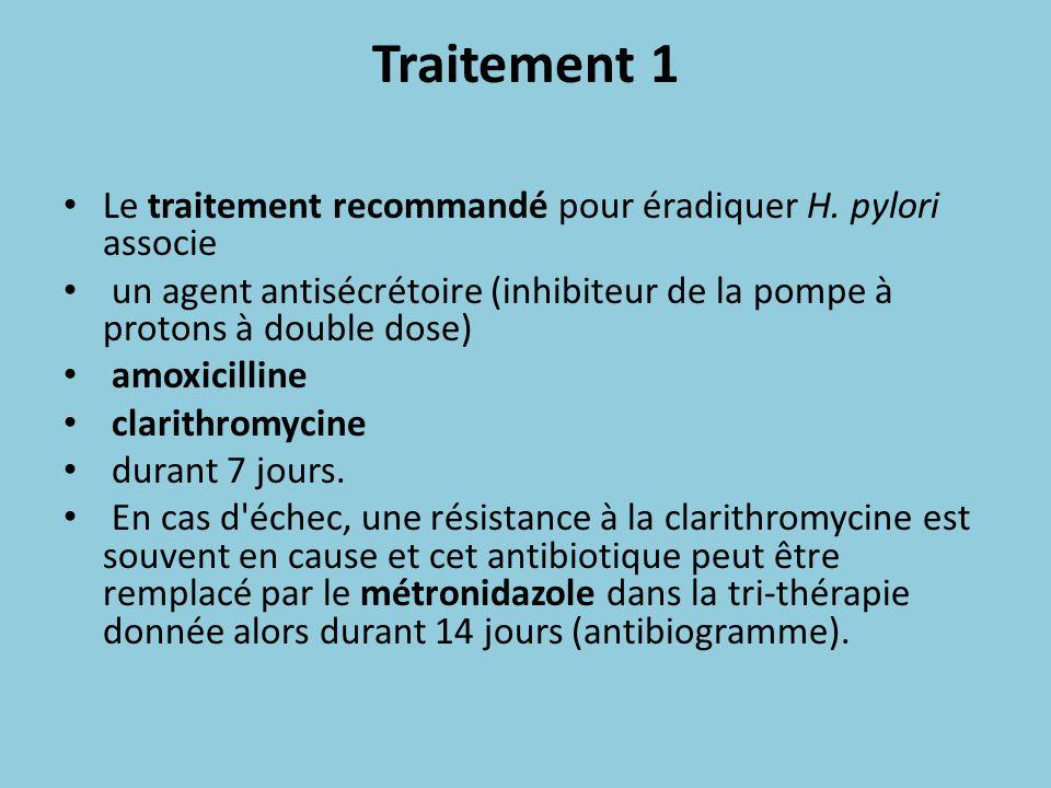 Traitement 1 Le traitement recommandé pour éradiquer H. pylori associe un agent antisécrétoire (inhibiteur de la pompe à protons à double dose) amoxic