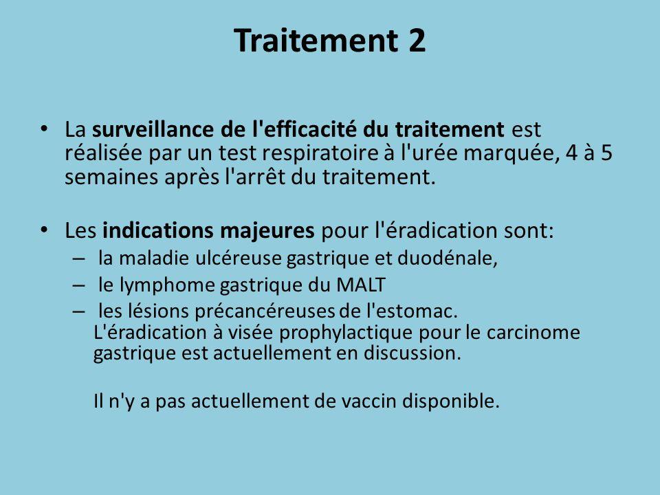 Traitement 2 La surveillance de l'efficacité du traitement est réalisée par un test respiratoire à l'urée marquée, 4 à 5 semaines après l'arrêt du tra