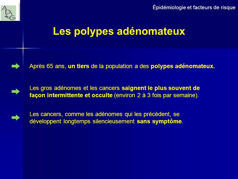 Épidémiologie et facteurs de risque Les polypes adénomateux Les gros adénomes et les cancers saignent le plus souvent de façon intermittente et occult
