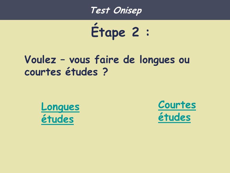 Étape 2 : Voulez – vous faire de longues ou courtes études ? Longues études Courtes études Test Onisep