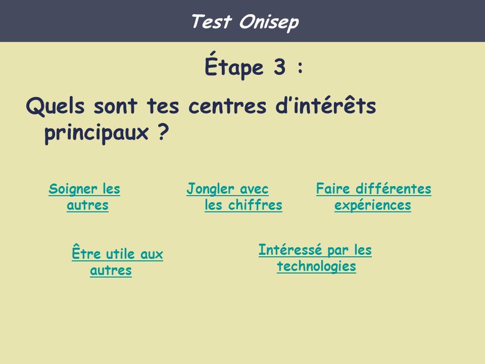 http://www.onisep.fr/Ressources/Univers-Metier/Metiers/technicien-ne- electrotechnicien-nehttp://www.onisep.fr/Ressources/Univers-Metier/Metiers/technicien-ne- electrotechnicien-ne testeur : http://www.onisep.fr/Ressources/Univers-Metier/Metiers/testeur-eusehttp://www.onisep.fr/Ressources/Univers-Metier/Metiers/testeur-euse Technicien de maintenance en informatique http://www.onisep.fr/Ressources/Univers-Metier/Metiers/developpeur-euse- informatiquehttp://www.onisep.fr/Ressources/Univers-Metier/Metiers/developpeur-euse- informatique http://www.onisep.fr/Ressources/Univers-Metier/Metiers/formateur-trice-en- informatiquehttp://www.onisep.fr/Ressources/Univers-Metier/Metiers/formateur-trice-en- informatique Test Onisep Les métiers scientifiques qui te conviennent Je veux travailler en équipe, faire des études courtes et jaime les technologies Cliquer ici pour terminer…