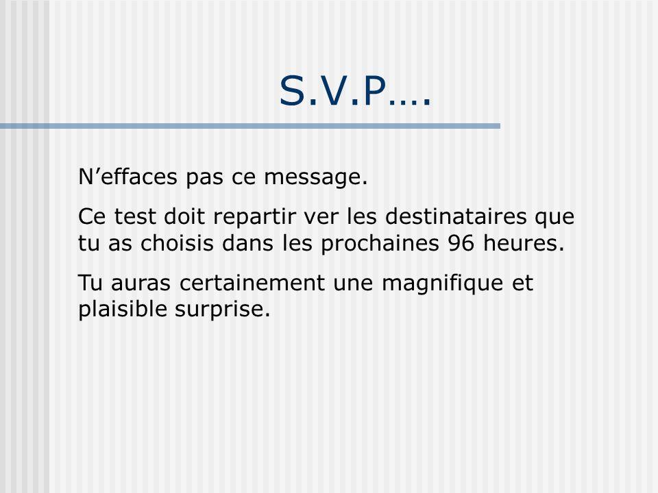 S.V.P…. Neffaces pas ce message. Ce test doit repartir ver les destinataires que tu as choisis dans les prochaines 96 heures. Tu auras certainement un