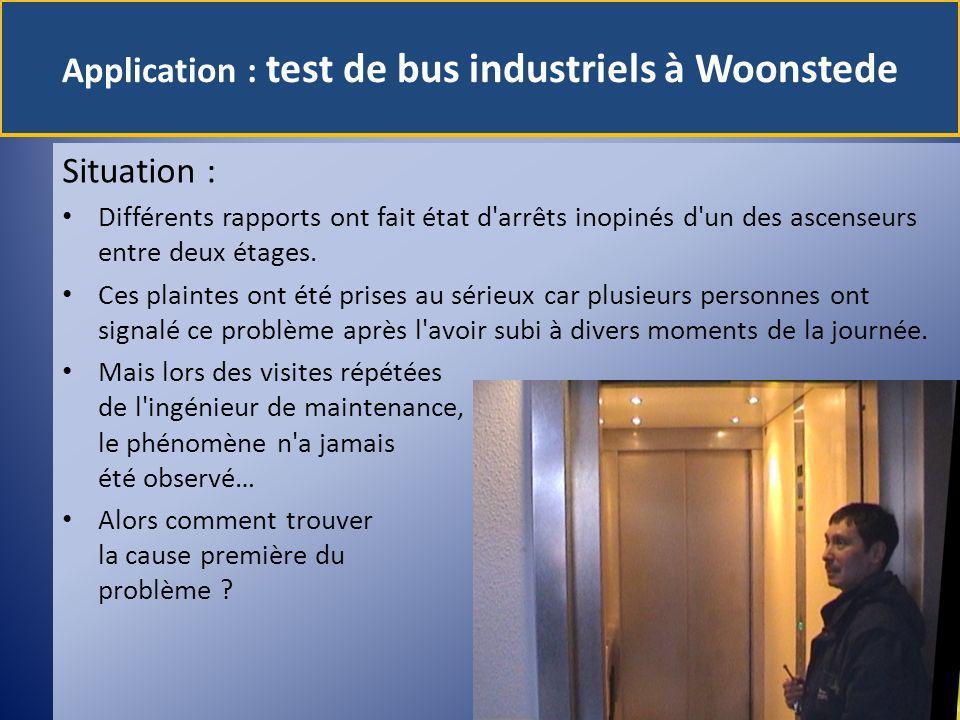 Application : test de bus industriels à Woonstede Situation : Différents rapports ont fait état d arrêts inopinés d un des ascenseurs entre deux étages.
