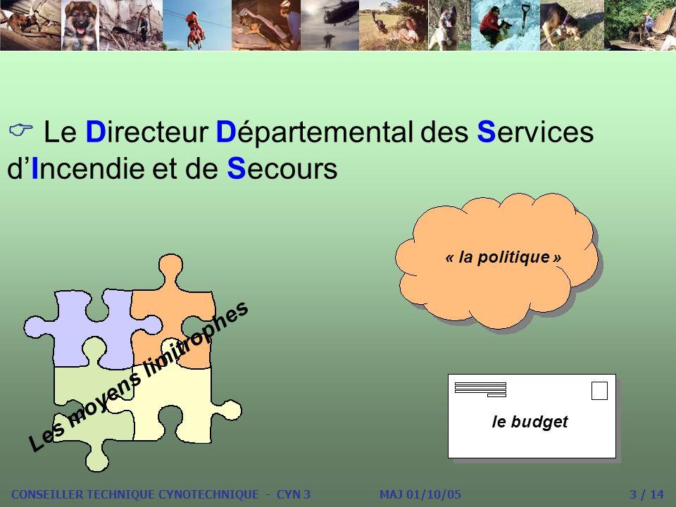 Le Directeur Départemental des Services dIncendie et de Secours « la politique » Les moyens limitrophes le budget CONSEILLER TECHNIQUE CYNOTECHNIQUE - CYN 3 MAJ 01/10/05 3 / 14