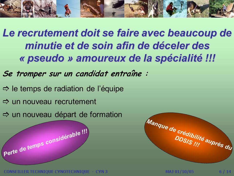 Le recrutement doit se faire avec beaucoup de minutie et de soin afin de déceler des « pseudo » amoureux de la spécialité !!.