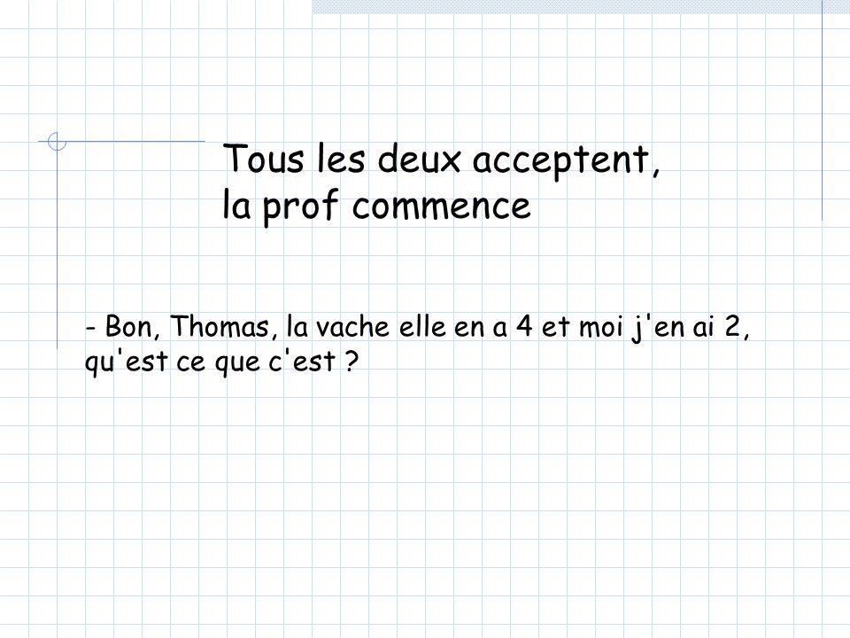 Tous les deux acceptent, la prof commence - Bon, Thomas, la vache elle en a 4 et moi j en ai 2, qu est ce que c est ?