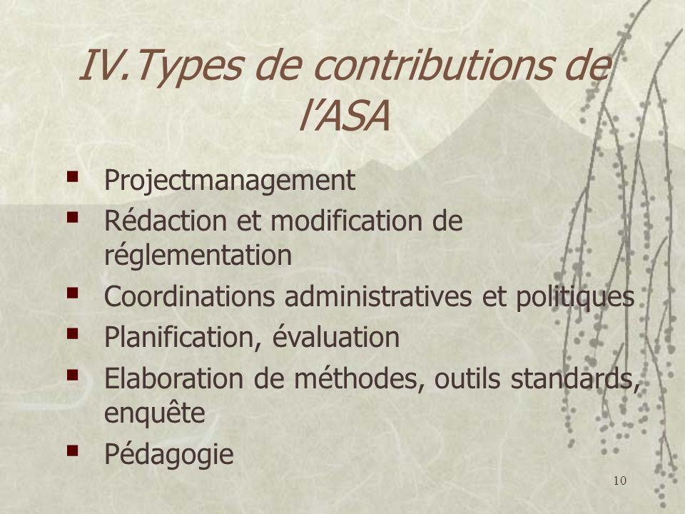 10 IV.Types de contributions de lASA Projectmanagement Rédaction et modification de réglementation Coordinations administratives et politiques Planification, évaluation Elaboration de méthodes, outils standards, enquête Pédagogie