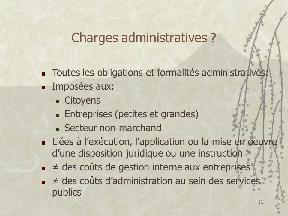 11 Charges administratives .