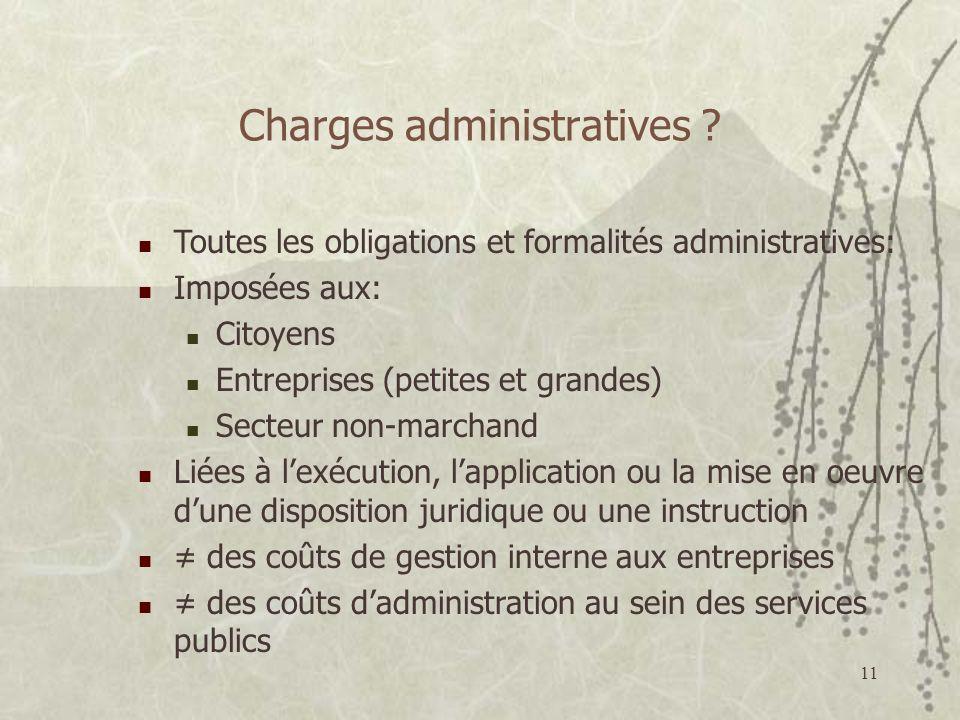 11 Charges administratives ? Toutes les obligations et formalités administratives: Imposées aux: Citoyens Entreprises (petites et grandes) Secteur non