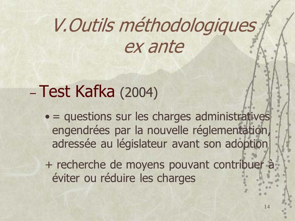 14 V.Outils méthodologiques ex ante – Test Kafka (2004) = questions sur les charges administratives engendrées par la nouvelle réglementation, adressée au législateur avant son adoption + recherche de moyens pouvant contribuer à éviter ou réduire les charges