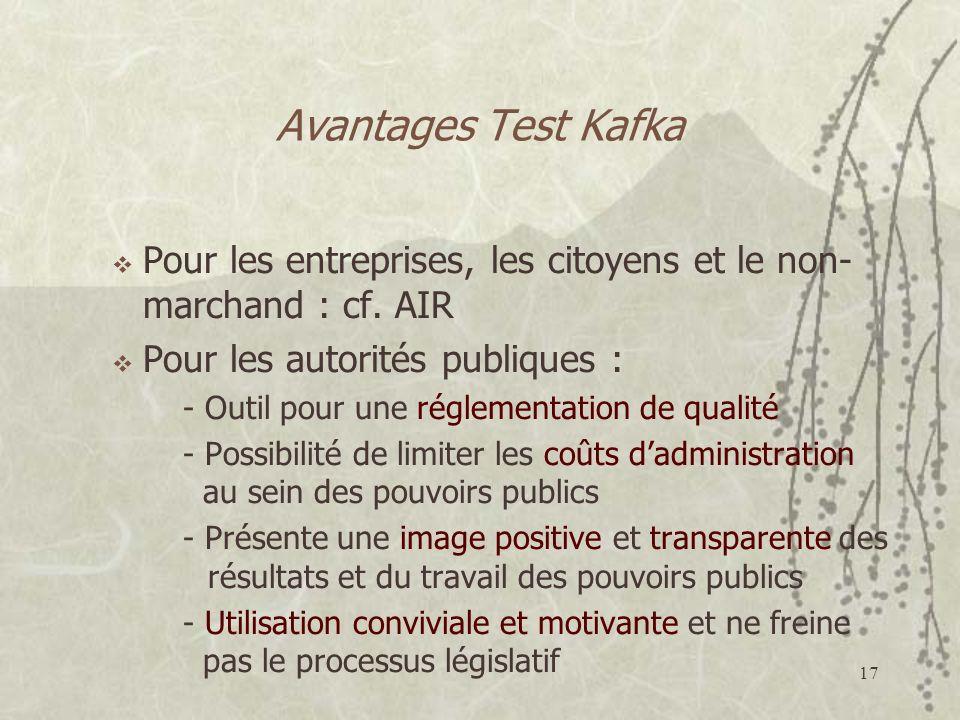 17 Avantages Test Kafka Pour les entreprises, les citoyens et le non- marchand : cf. AIR Pour les autorités publiques : - Outil pour une réglementatio