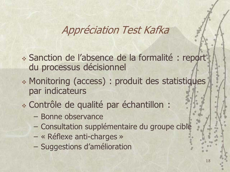 18 Appréciation Test Kafka Sanction de labsence de la formalité : report du processus décisionnel Monitoring (access) : produit des statistiques par indicateurs Contrôle de qualité par échantillon : –Bonne observance –Consultation supplémentaire du groupe cible –« Réflexe anti-charges » –Suggestions damélioration