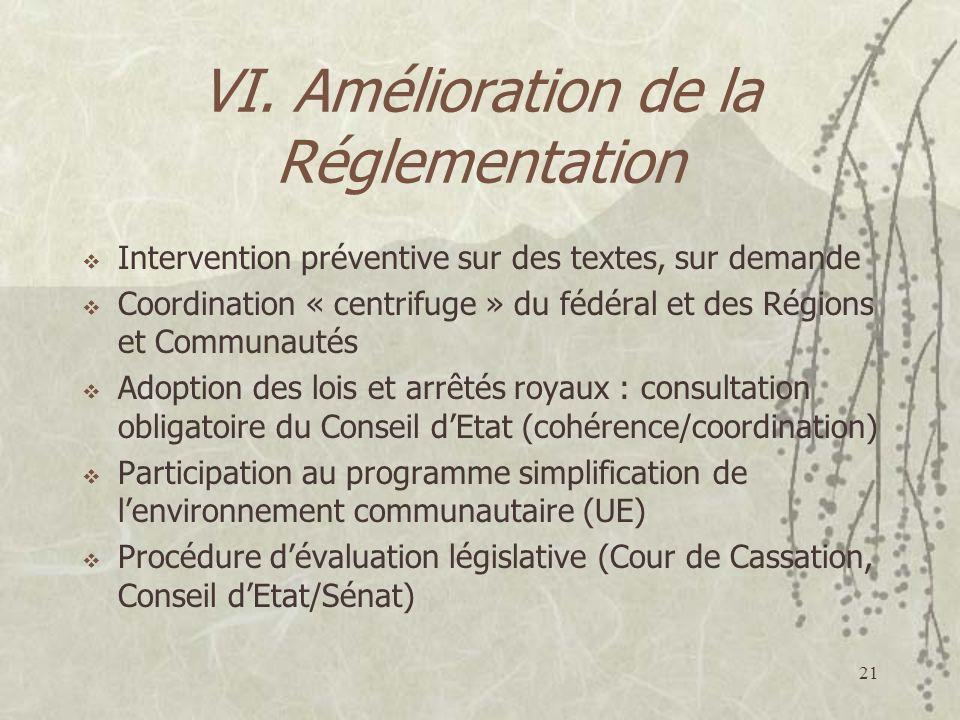 21 VI. Amélioration de la Réglementation Intervention préventive sur des textes, sur demande Coordination « centrifuge » du fédéral et des Régions et