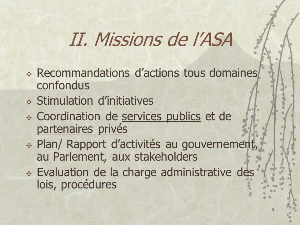 5 II. Missions de lASA Recommandations dactions tous domaines confondus Stimulation dinitiatives Coordination de services publics et de partenaires pr