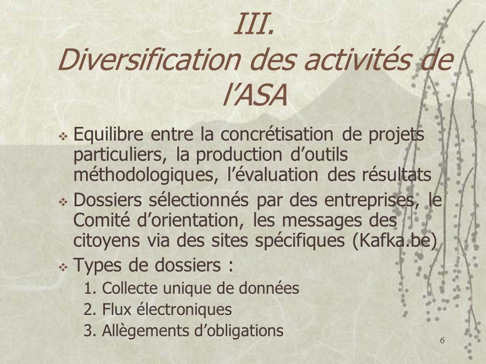 6 III. Diversification des activités de lASA Equilibre entre la concrétisation de projets particuliers, la production doutils méthodologiques, lévalua