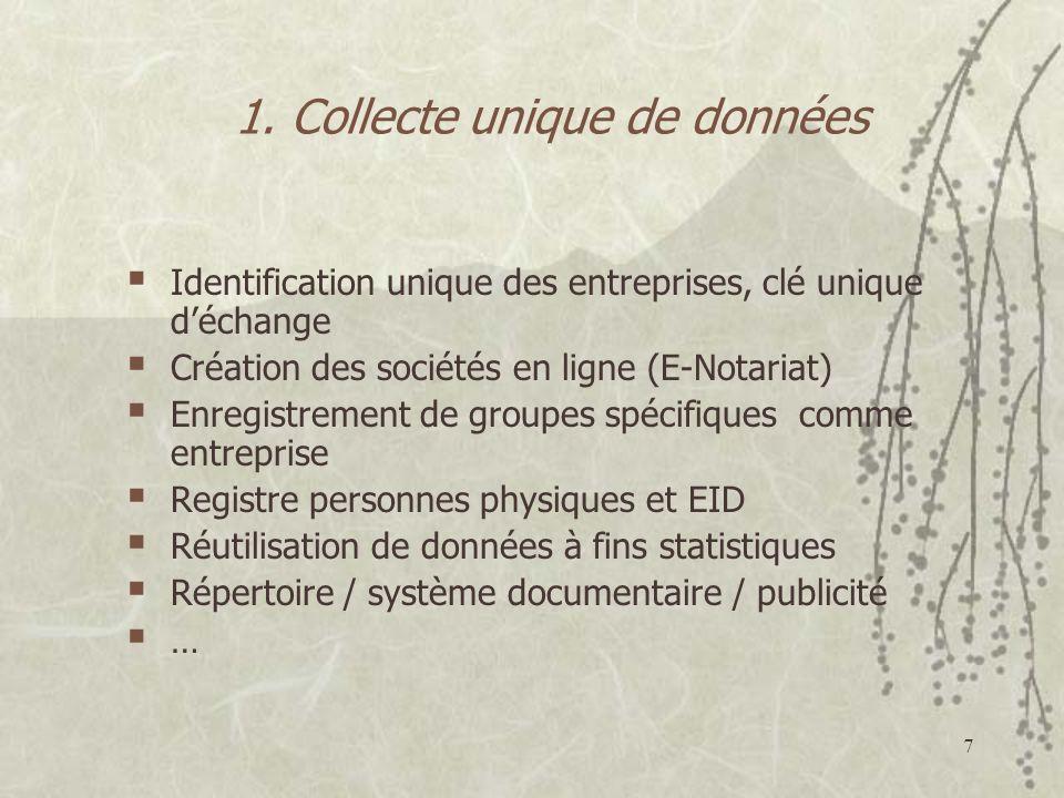 7 1. Collecte unique de données Identification unique des entreprises, clé unique déchange Création des sociétés en ligne (E-Notariat) Enregistrement