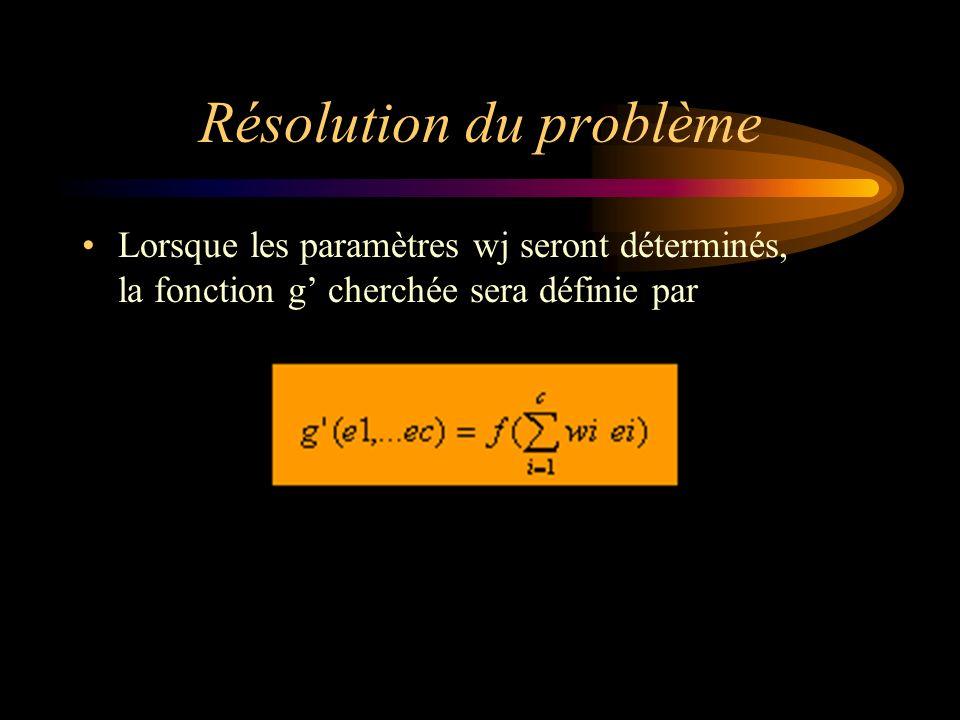 Résolution du problème Lorsque les paramètres wj seront déterminés, la fonction g cherchée sera définie par