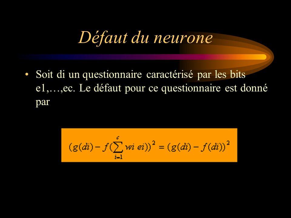 Défaut du neurone Soit di un questionnaire caractérisé par les bits e1,…,ec. Le défaut pour ce questionnaire est donné par