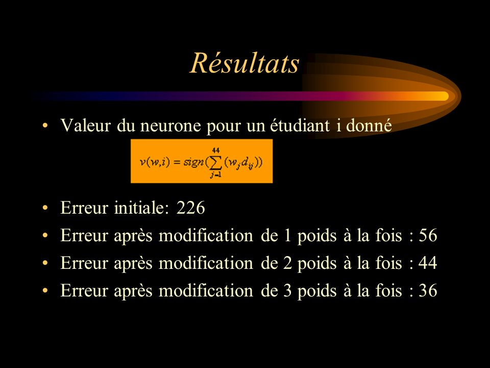 Résultats Valeur du neurone pour un étudiant i donné Erreur initiale: 226 Erreur après modification de 1 poids à la fois : 56 Erreur après modification de 2 poids à la fois : 44 Erreur après modification de 3 poids à la fois : 36