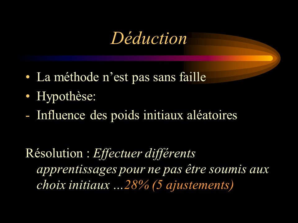 Déduction La méthode nest pas sans faille Hypothèse: -Influence des poids initiaux aléatoires Résolution : Effectuer différents apprentissages pour ne pas être soumis aux choix initiaux …28% (5 ajustements)