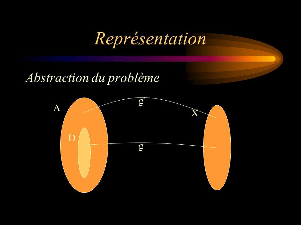 Représentation Abstraction du problème A X D g g