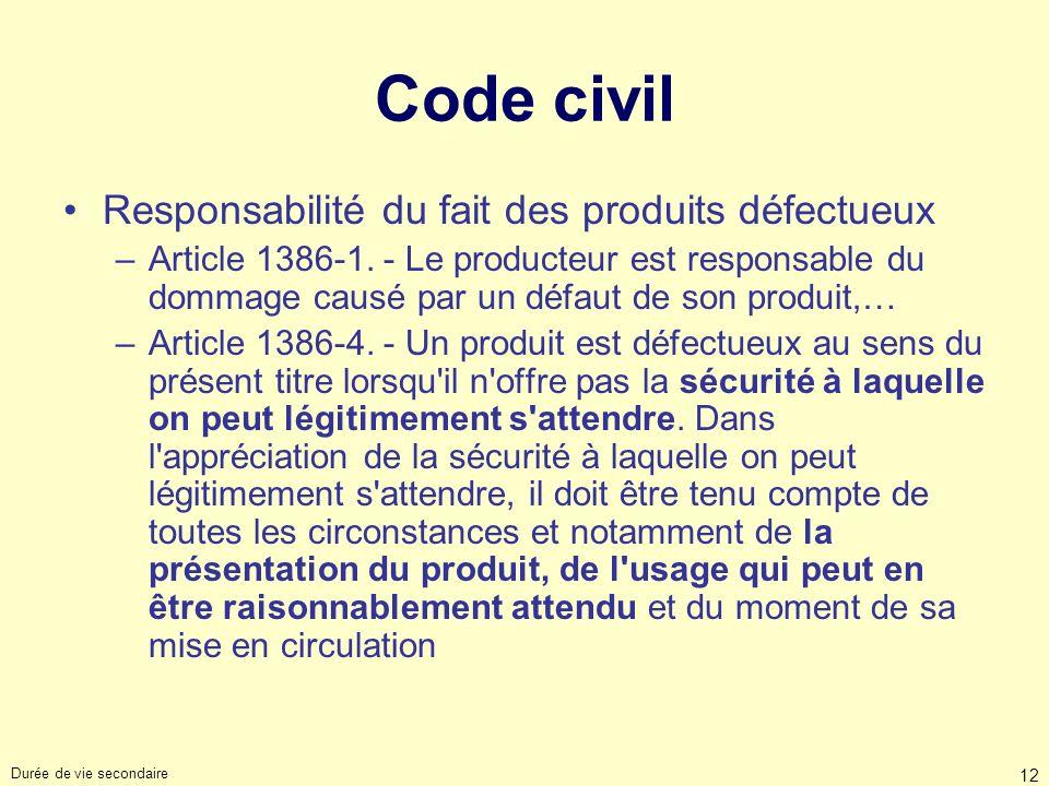 Durée de vie secondaire 12 Code civil Responsabilité du fait des produits défectueux –Article 1386-1. - Le producteur est responsable du dommage causé