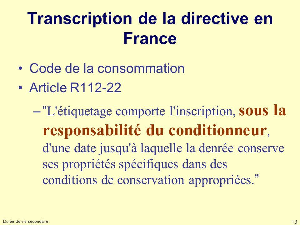 Durée de vie secondaire 13 Transcription de la directive en France Code de la consommation Article R112-22 – L'étiquetage comporte l'inscription, sous