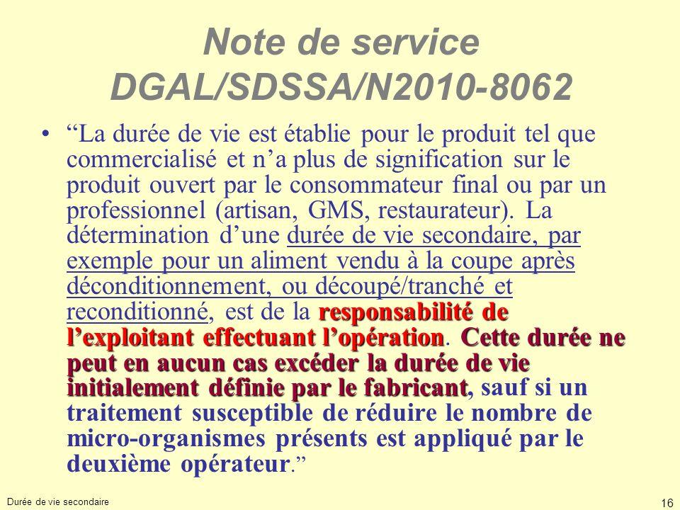 16 Note de service DGAL/SDSSA/N2010-8062 responsabilité de lexploitant effectuant lopérationCette durée ne peut en aucun cas excéder la durée de vie i