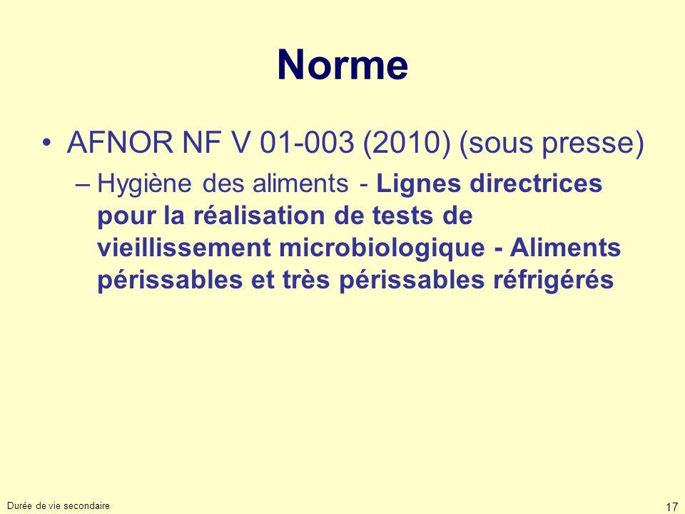 Durée de vie secondaire 17 Norme AFNOR NF V 01-003 (2010) (sous presse) –Hygiène des aliments - Lignes directrices pour la réalisation de tests de vie