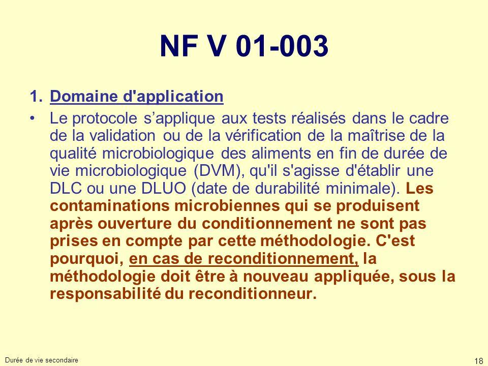 Durée de vie secondaire 18 NF V 01-003 1.Domaine d'application Le protocole sapplique aux tests réalisés dans le cadre de la validation ou de la vérif