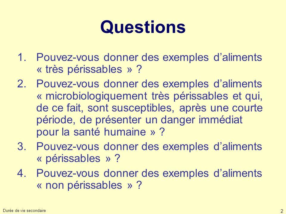 Durée de vie secondaire 2 Questions 1.Pouvez-vous donner des exemples daliments « très périssables » ? 2.Pouvez-vous donner des exemples daliments « m