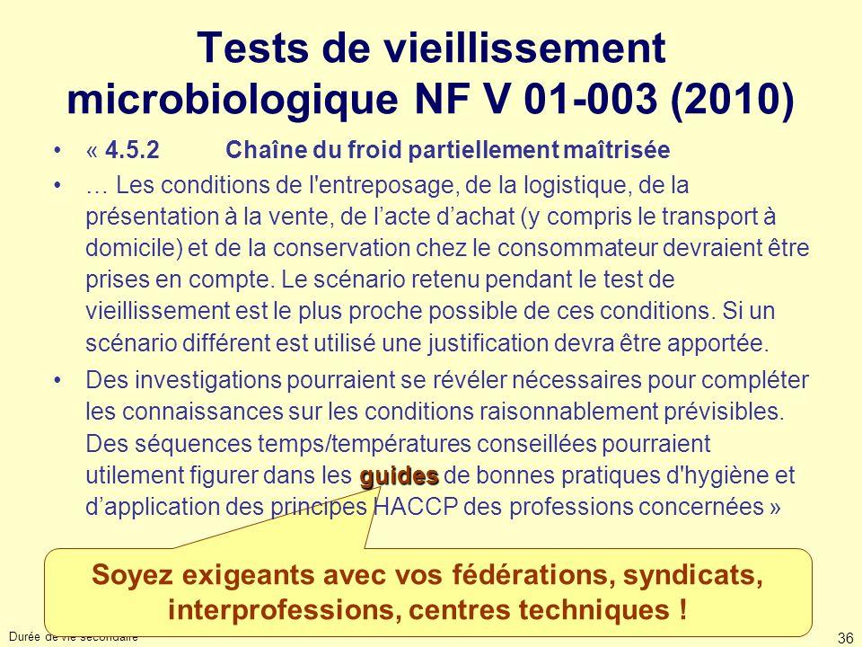 Durée de vie secondaire 36 Soyez exigeants avec vos fédérations, syndicats, interprofessions, centres techniques ! Tests de vieillissement microbiolog