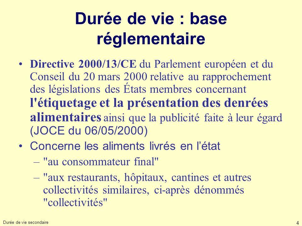 Durée de vie secondaire 4 Durée de vie : base réglementaire Directive 2000/13/CE du Parlement européen et du Conseil du 20 mars 2000 relative au rappr
