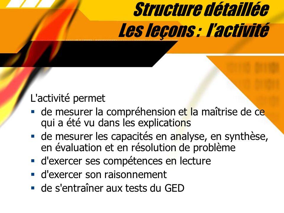 Structure détaillée Les leçons : lactivité L'activité permet de mesurer la compréhension et la maîtrise de ce qui a été vu dans les explications de me