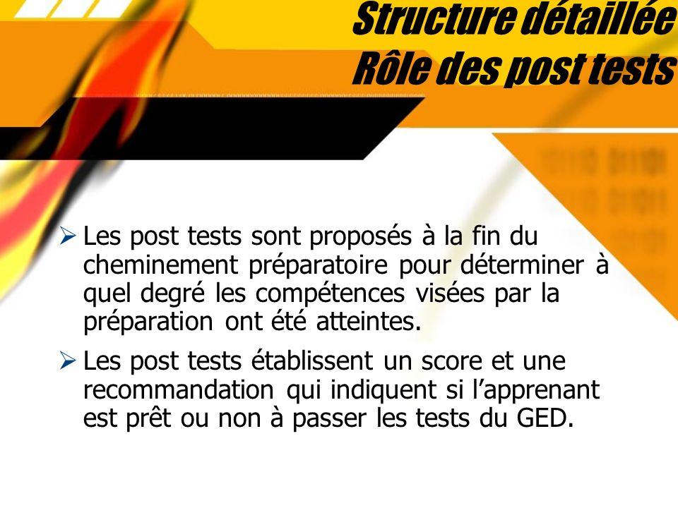 Structure détaillée Rôle des post tests Les post tests sont proposés à la fin du cheminement préparatoire pour déterminer à quel degré les compétences