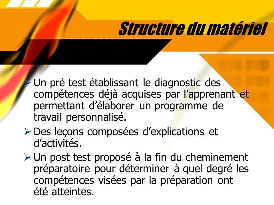 Structure du matériel Un pré test établissant le diagnostic des compétences déjà acquises par lapprenant et permettant délaborer un programme de trava