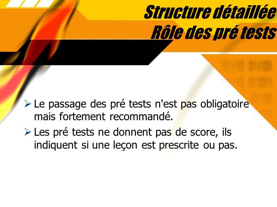 Structure détaillée Rôle des pré tests Le passage des pré tests n'est pas obligatoire mais fortement recommandé. Les pré tests ne donnent pas de score