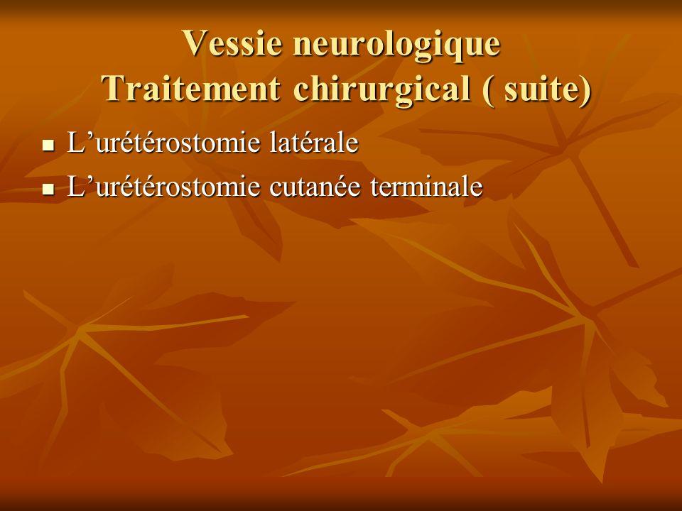 Vessie neurologique Traitement chirurgical ( suite) Lurétérostomie latérale Lurétérostomie latérale Lurétérostomie cutanée terminale Lurétérostomie cu