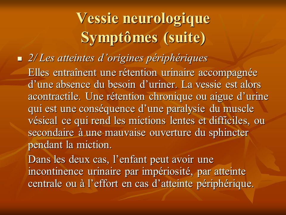 Vessie neurologique Symptômes (suite) 2/ Les atteintes dorigines périphériques 2/ Les atteintes dorigines périphériques Elles entraînent une rétention
