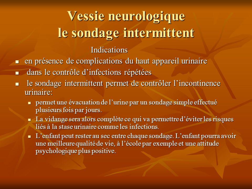 Vessie neurologique le sondage intermittent Indications en présence de complications du haut appareil urinaire en présence de complications du haut ap