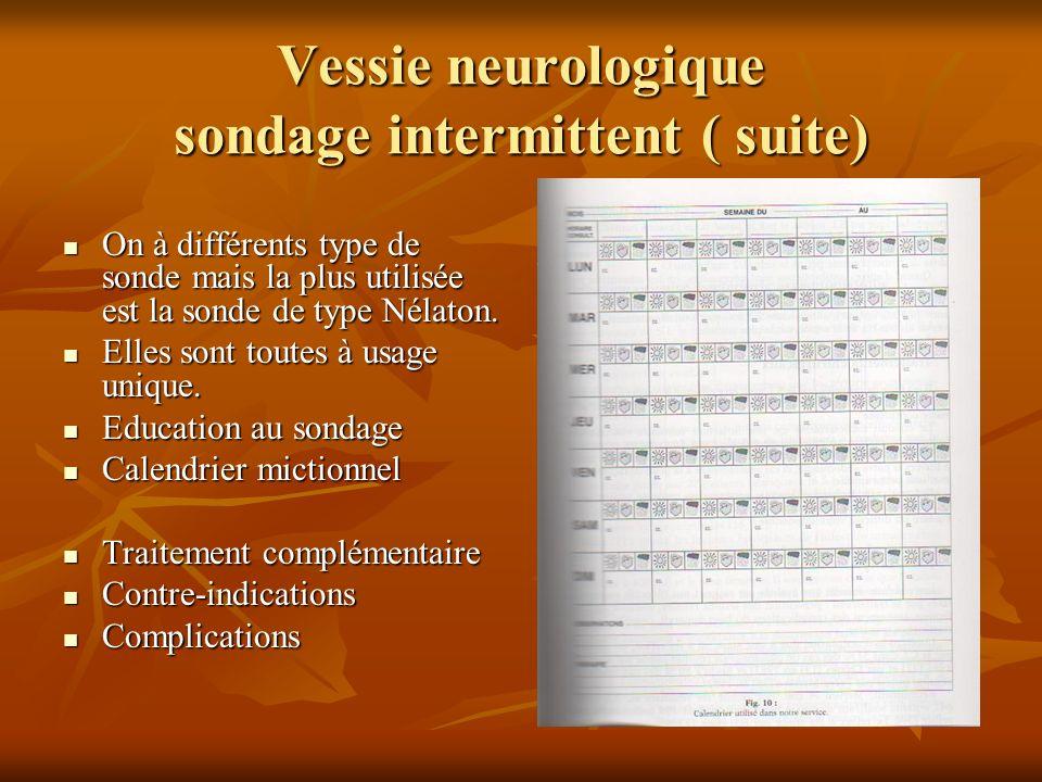 Vessie neurologique sondage intermittent ( suite) On à différents type de sonde mais la plus utilisée est la sonde de type Nélaton. On à différents ty