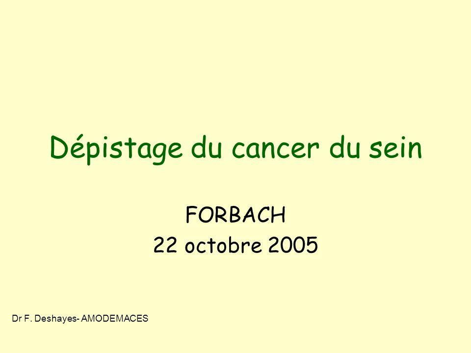 Dépistage du cancer du sein FORBACH 22 octobre 2005 Dr F. Deshayes- AMODEMACES