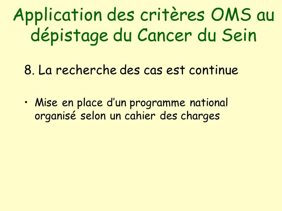 Application des critères OMS au dépistage du Cancer du Sein 8.